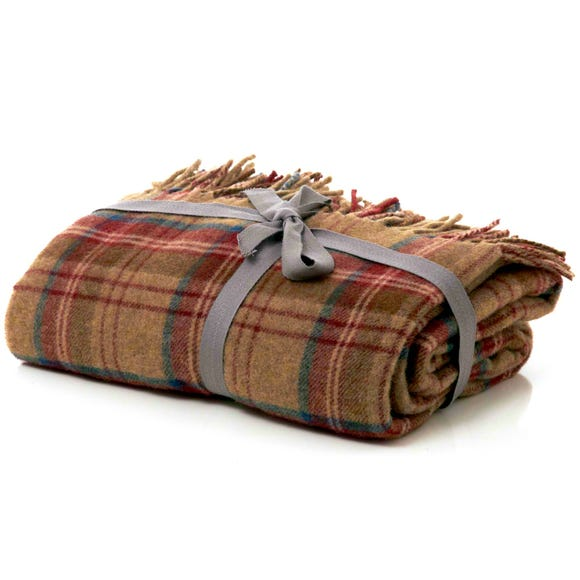 Checked Tweed Red Throw Red