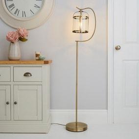 Hurricane Antique Brass Floor Lamp