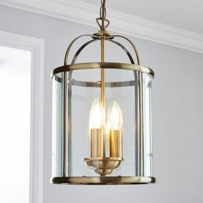 Hurricane 3 Light Pendant Antique Brass Ceiling Fitting