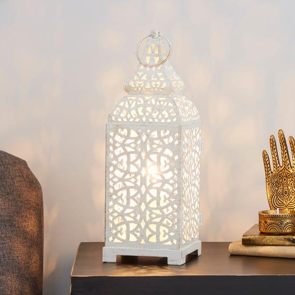 Moroccan Lantern Cream Table Lamp Cream