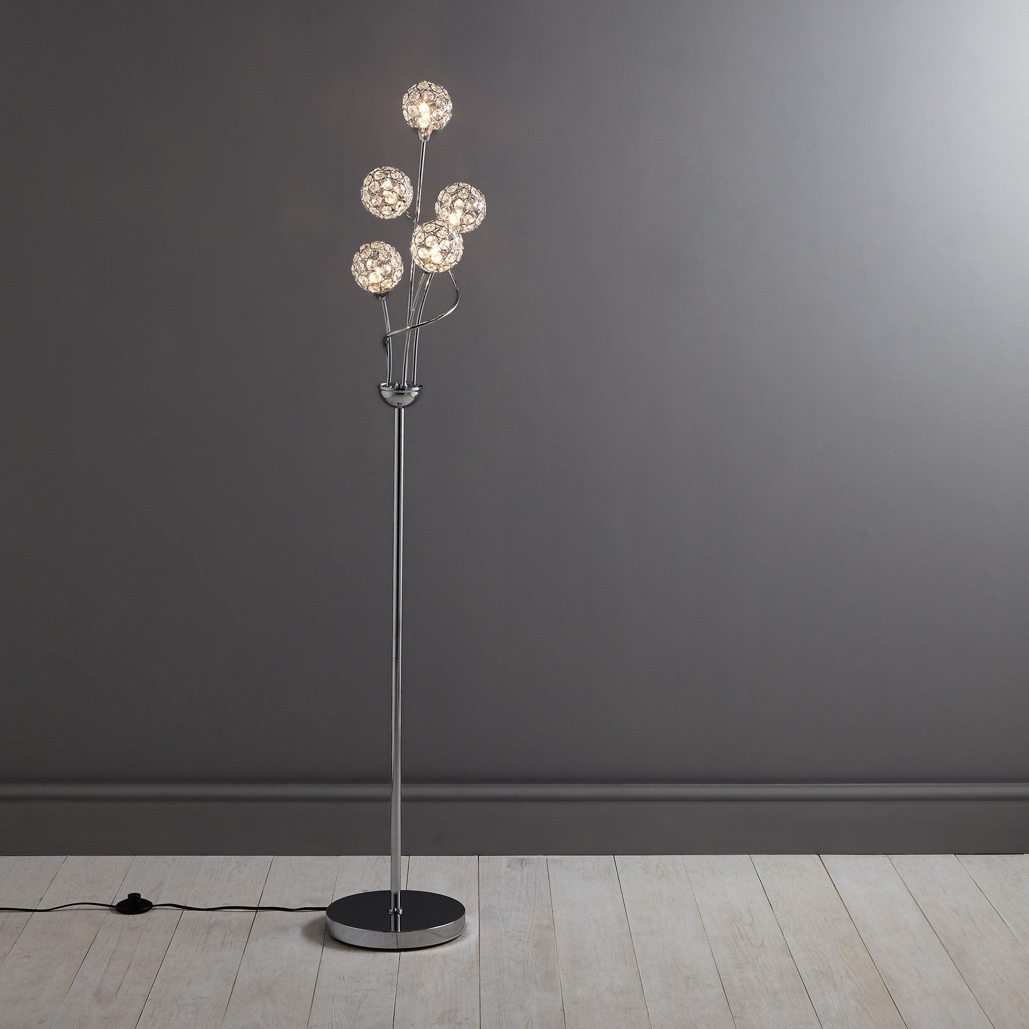 Sphere 5 Light Glass Floor Lamp Silver
