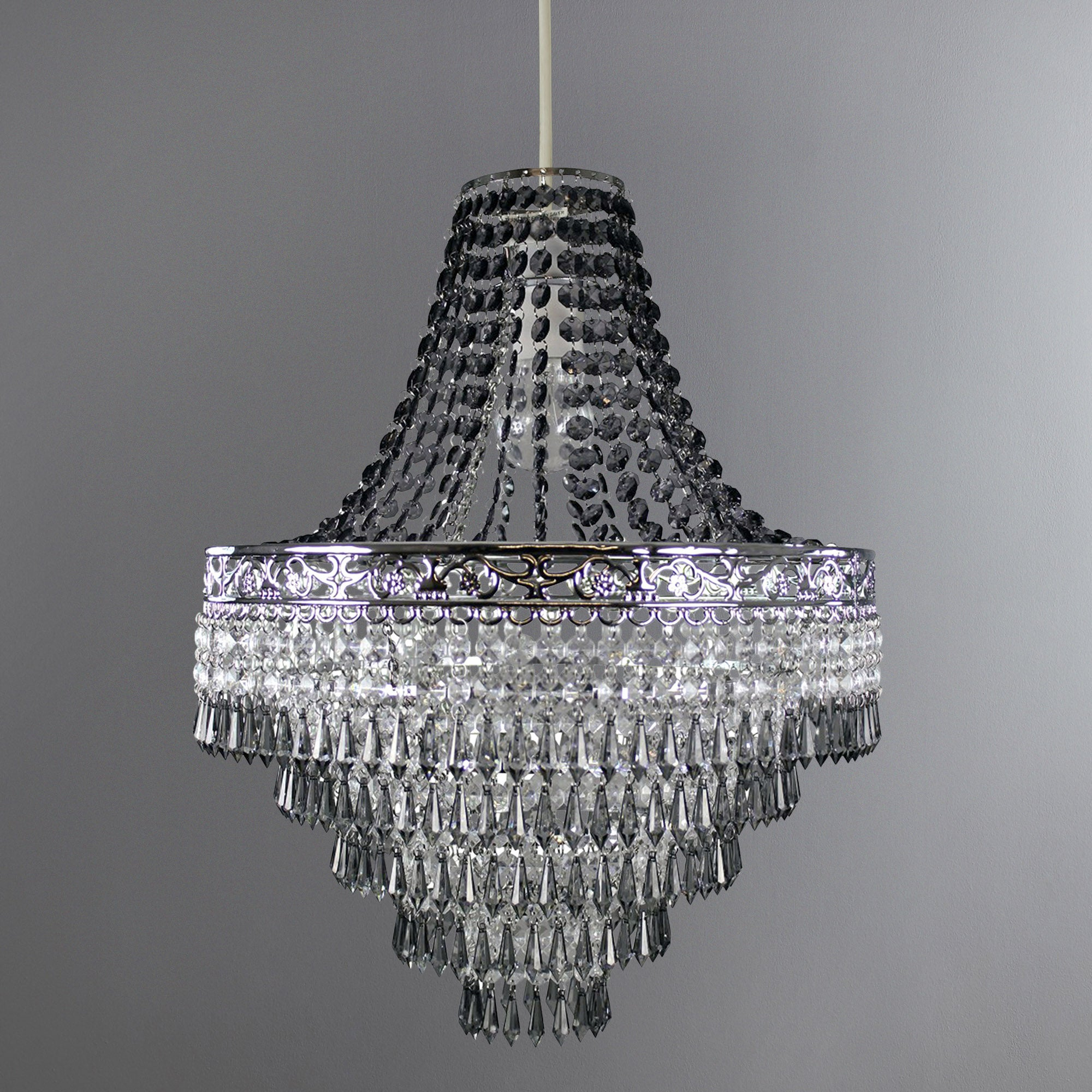 Blenheim Smoked Jewels Chandelier Easy Fit Pendant Charcoal