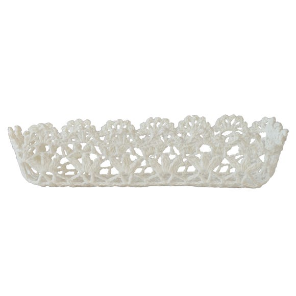 White Cotton Crochet Storage Tray White
