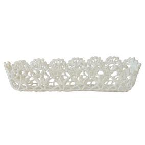 White Cotton Crochet Storage Tray