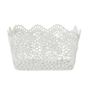 White Cotton Crochet Storage Basket