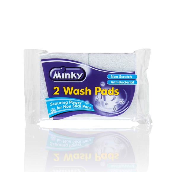 Minky Pack of 2 Anti Bacterial Wash Pads White