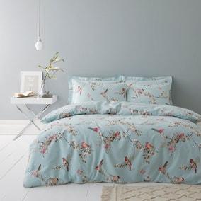 Beautiful Birds Duck-Egg Duvet Cover and Pillowcase Set