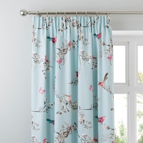 Beautiful Birds Duck-Egg Thermal Pencil Pleat Curtains