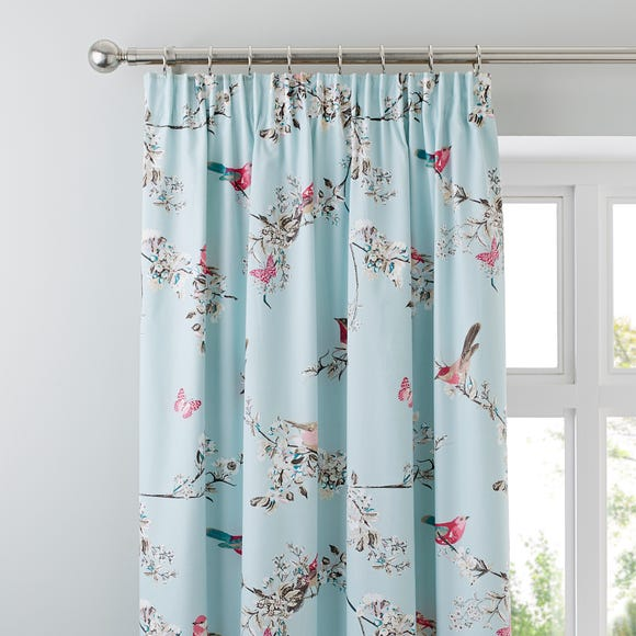 Beautiful Birds Duck-Egg Thermal Pencil Pleat Curtains  undefined