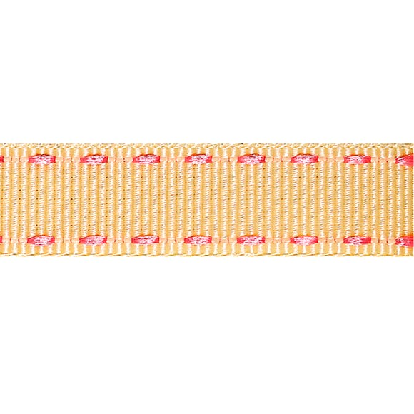 Pink Stitched Grosgrain Ribbon Ivory