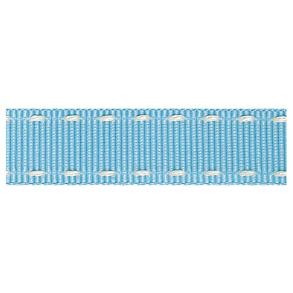 Sky Blue Stitched Grosgrain Ribbon Sky (Blue)