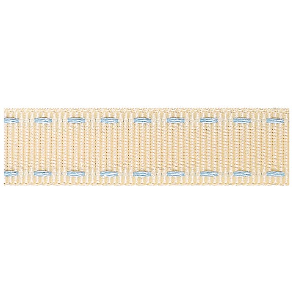 Sky Blue Stitched Grosgrain Ribbon Ivory