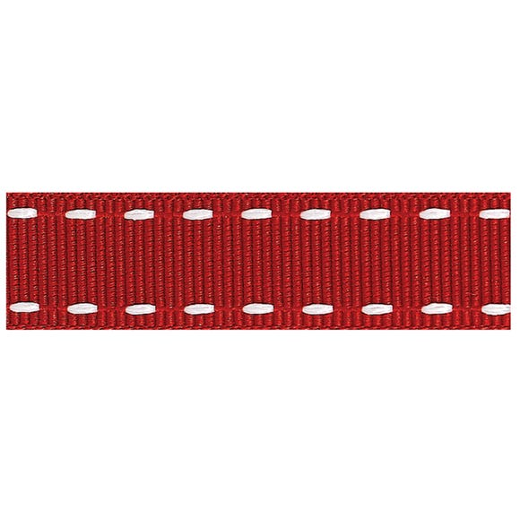 Red Stitched Grosgrain Ribbon Red