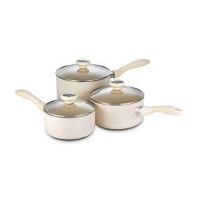 Dunelm Create Cream Non-Stick 3 Piece Saucepan Set and Lids