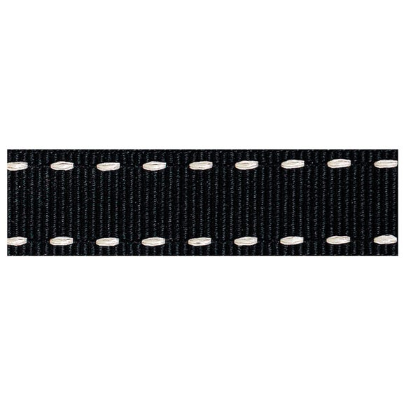 Black Stitched Grosgrain Ribbon Black