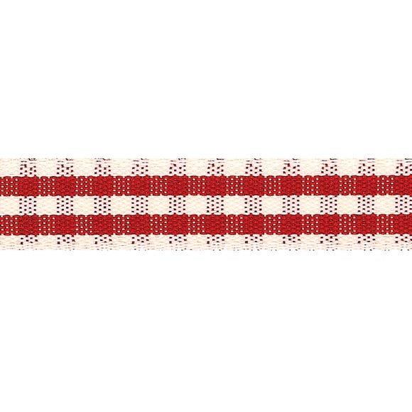Red Rustic Gingham Ribbon  undefined