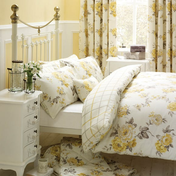 Windermere Yellow Reversible Duvet Cover and Pillowcase Set  undefined