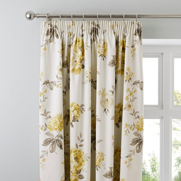Windermere Yellow Thermal Pencil Pleat Curtains  undefined