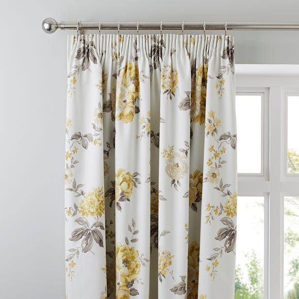 Windermere Lemon Thermal Pencil Pleat Curtains  undefined