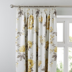 Windermere Yellow Thermal Pencil Pleat Curtains