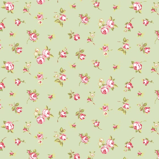 Sage Rosebud PVC Fabric Sage