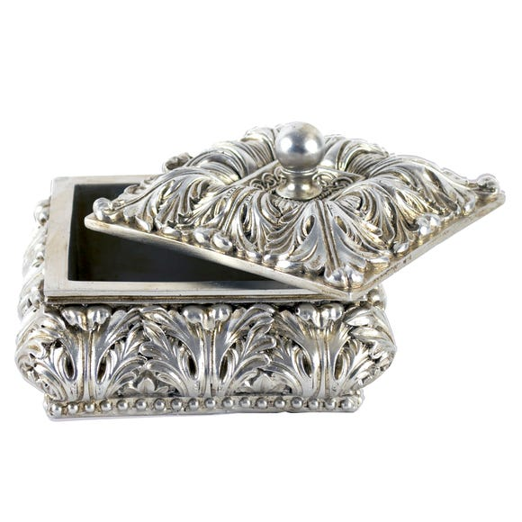 Nouveau Square Trinket Pot Silver