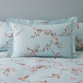 Beautiful Birds Duck-Egg Oxford Pillowcase