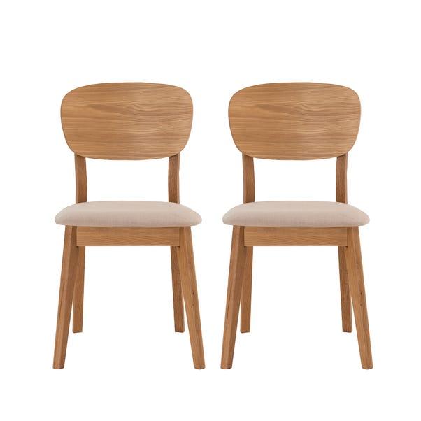 Skandi Oak Set of 2 Veneer Back Dining Chairs Mid Oak (Brown)