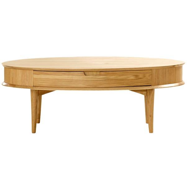 Skandi Oak Coffee Table with Drawer Mid Oak (Brown)