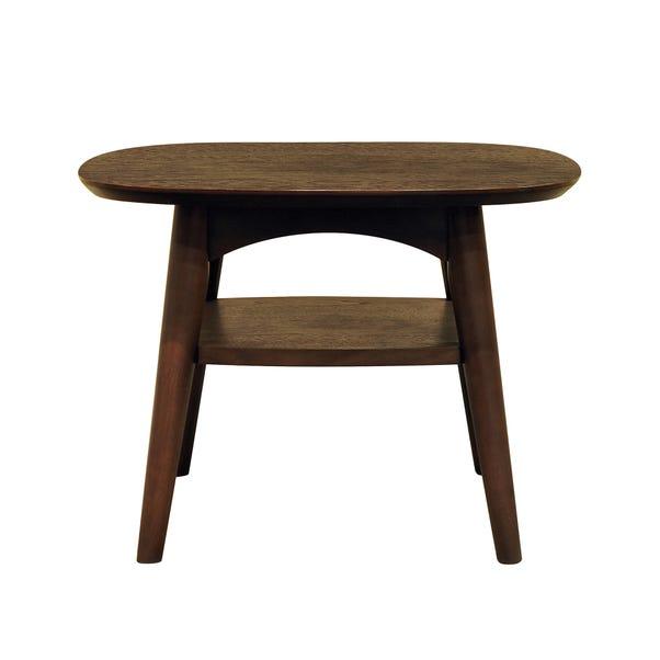 Skandi Walnut Lamp Table with Shelf Walnut (Brown)