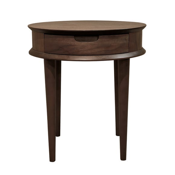 Skandi Walnut Lamp Table with Drawer Walnut (Brown)