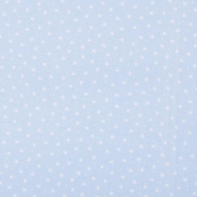 Powder Blue Stars Cotton Poplin