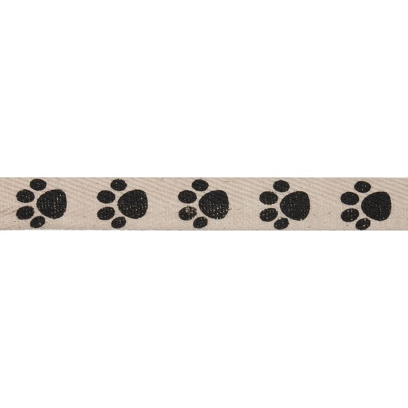 Bowtique Paw Prints Herringbone Ribbon White