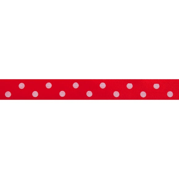 Bowtique Polka Dot Satin Ribbon Red