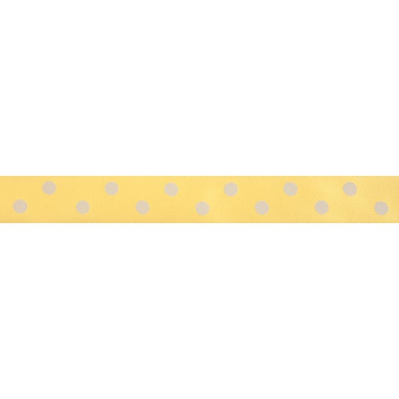 Bowtique Polka Dot Satin Ribbon Lemon