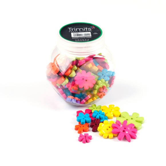 Button Jar Flowers Mix MultiColoured