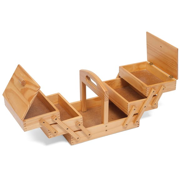 Light Wood Three Tier Cantilever Sewing Box Pine