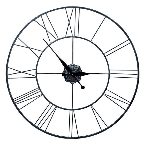 Roman Numeral 80cm Metal Wall Clock Black Black