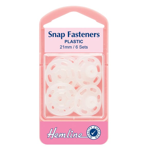 Hemline Large Sew On Clear Snap Fasteners Clear
