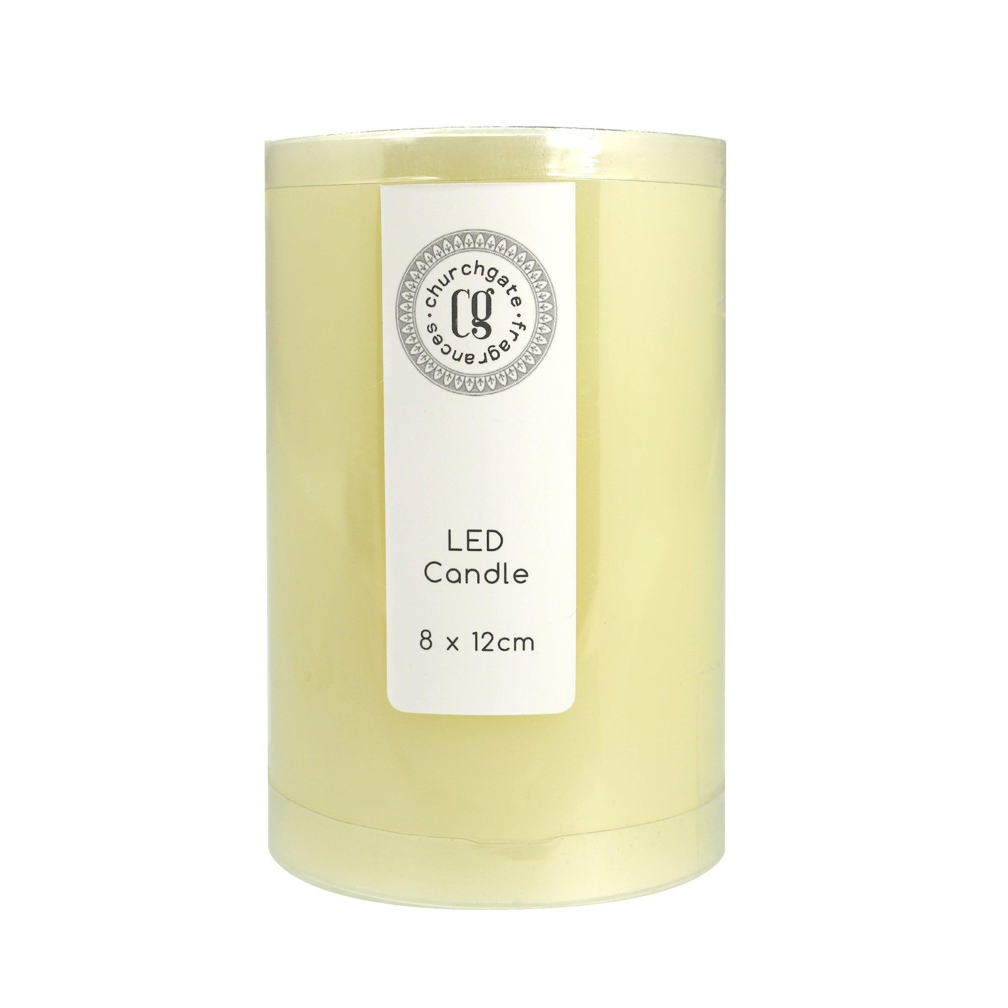 Led Church Candle 8cm X 12cm Cream