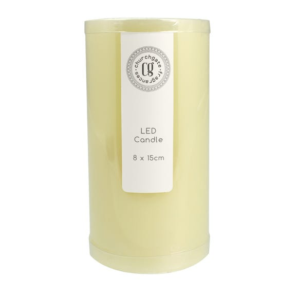 LED Church Candle 8cm x 15cm Cream