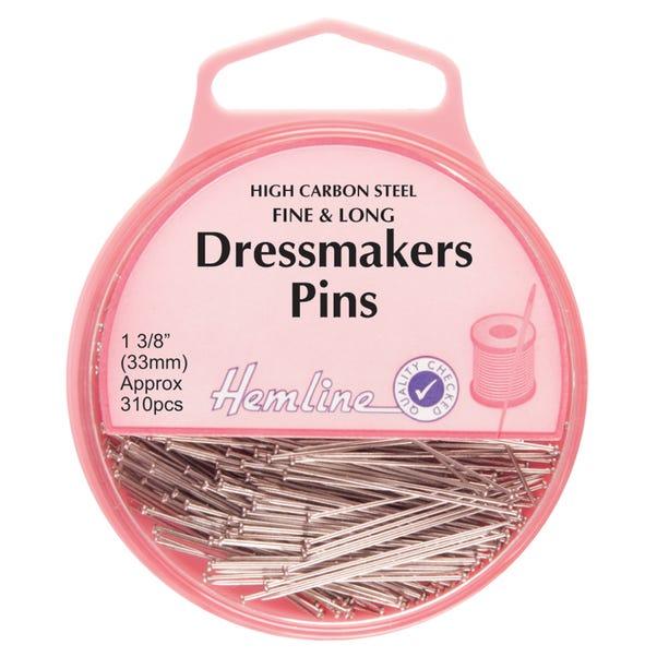 Hemline Dressmaker Fine Pins Silver