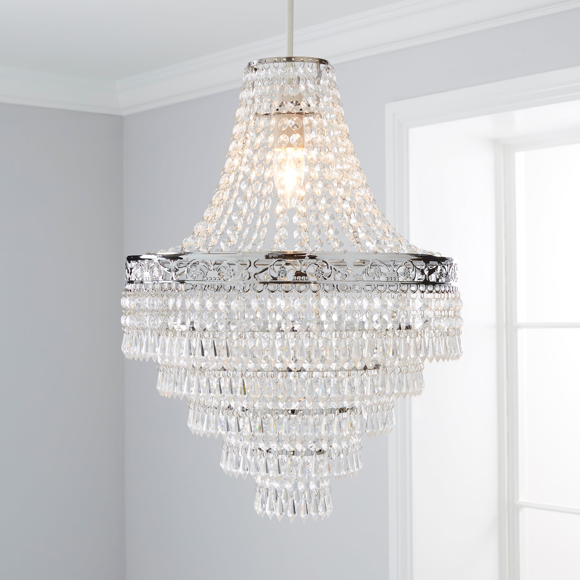 Click to view product details and reviews for Blenheim 34cm Chandelier Easy Fit Pendant Charcoal Grey.