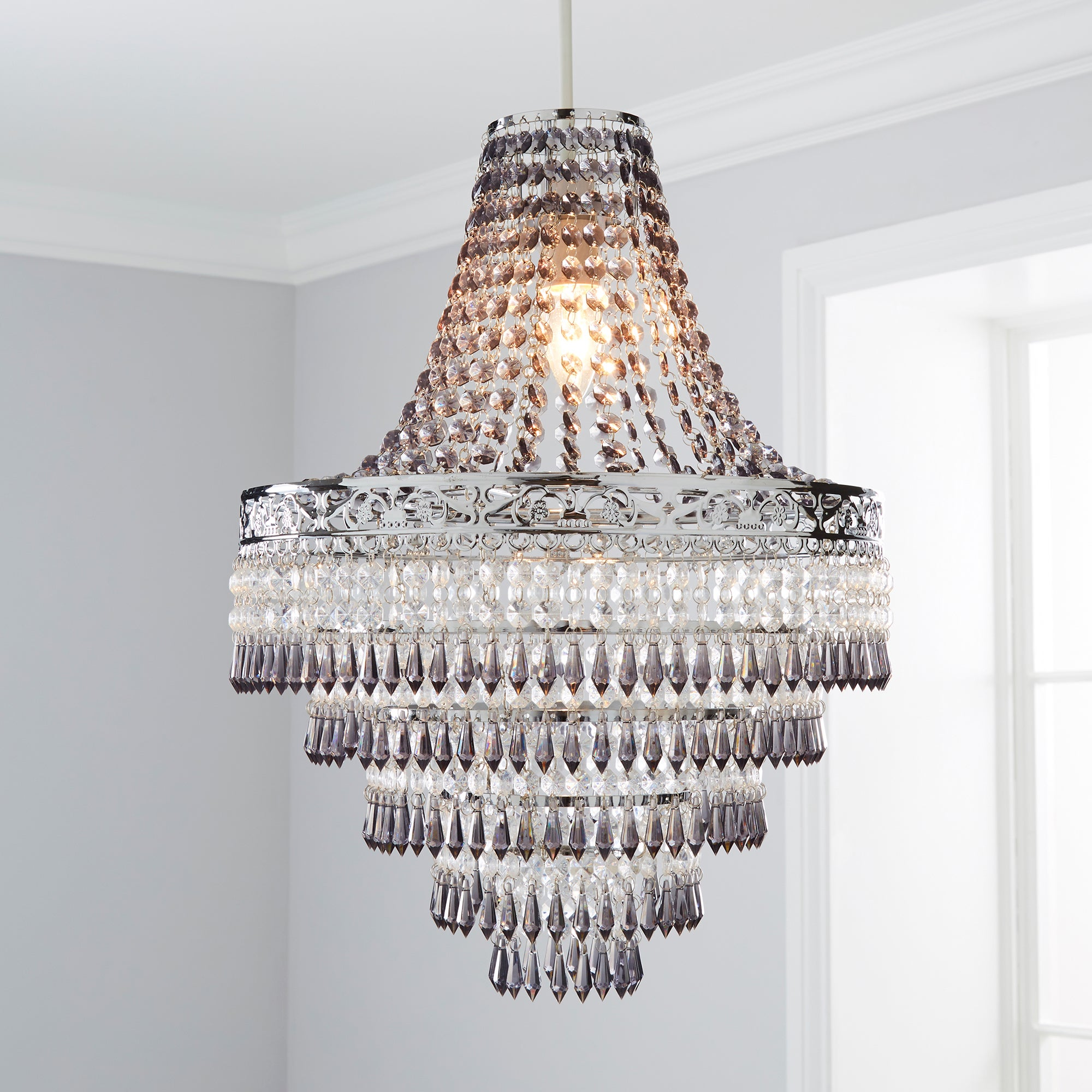 Click to view product details and reviews for Blenheim 34cm Smoked Jewels Chandelier Easy Fit Pendant Charcoal Grey.