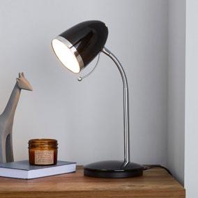 Tate Black and Chrome Desk Lamp