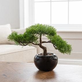 Artificial Bonsai Tree Green in Pot 27cm