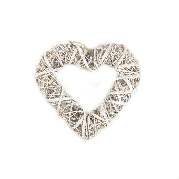 Artificial Rustic Madallimo White Heart 28cm White