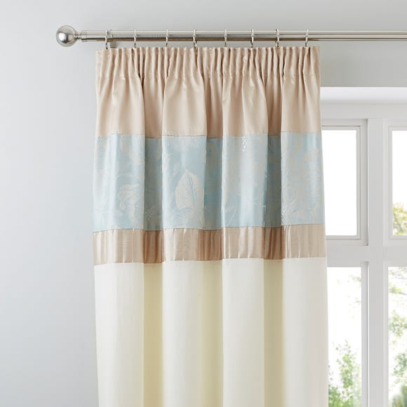 Olivia Duck-Egg Thermal Pencil Pleat Curtains Duck Egg (Blue) undefined