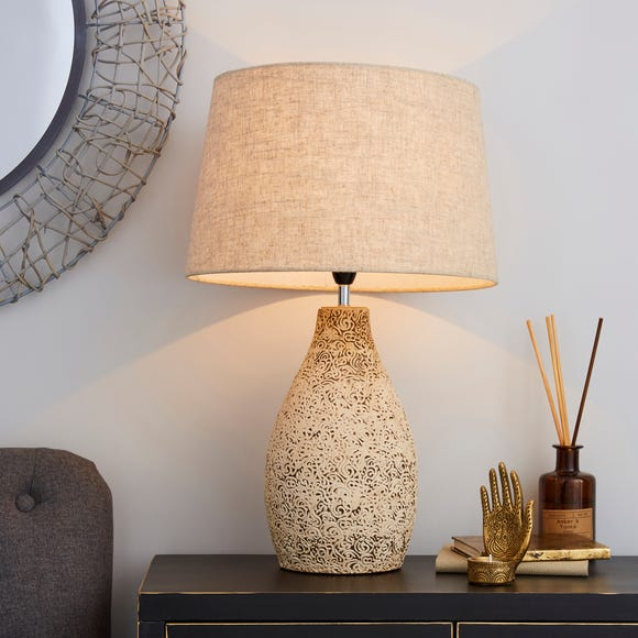 Mahon Tall Stamped Barrel Table Lamp Natural