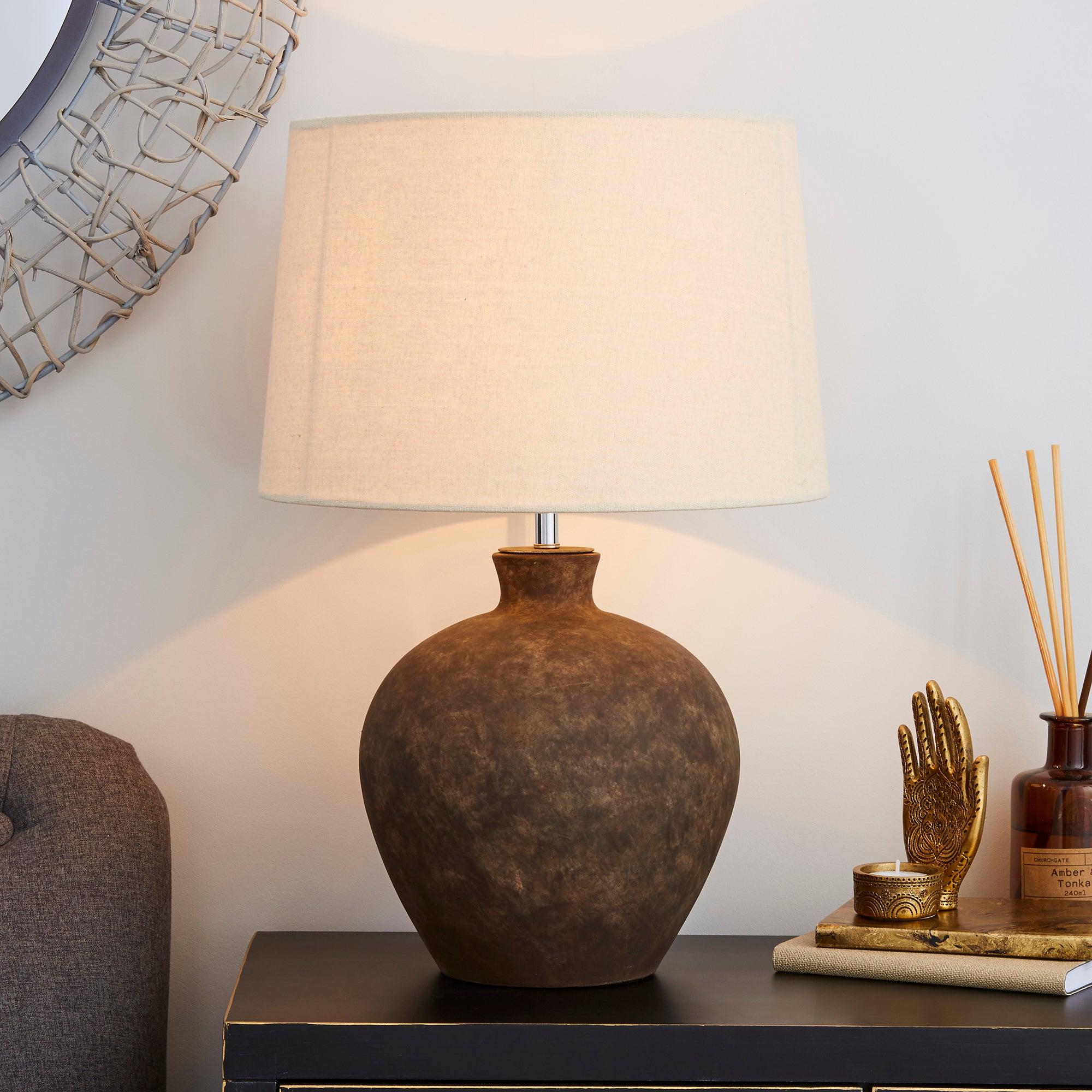 Santiago Large Washed Urn Table Lamp Light Brown / Natural